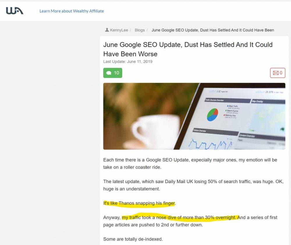 WA Community Post About a Google Update