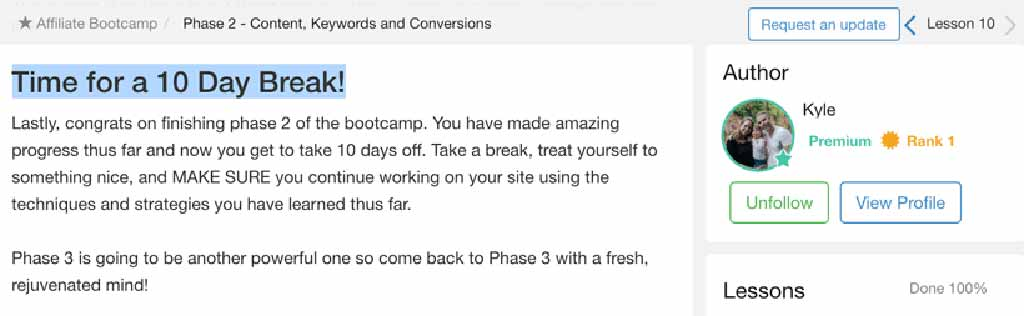 Wealthy Affiliate Kyle encourages you to take a 10-day break