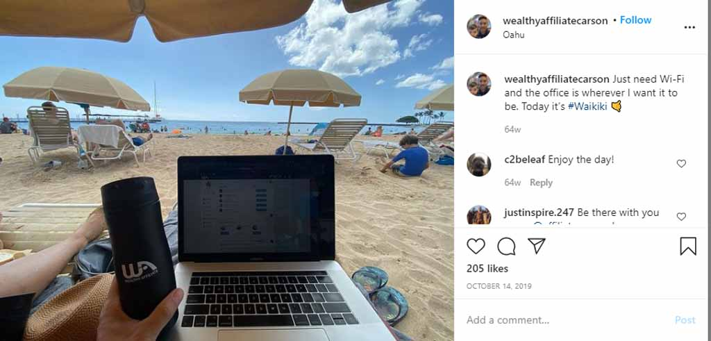 Wealthy Affiliate Promo Post from Carson Lim's Instagram - these are all over his social media