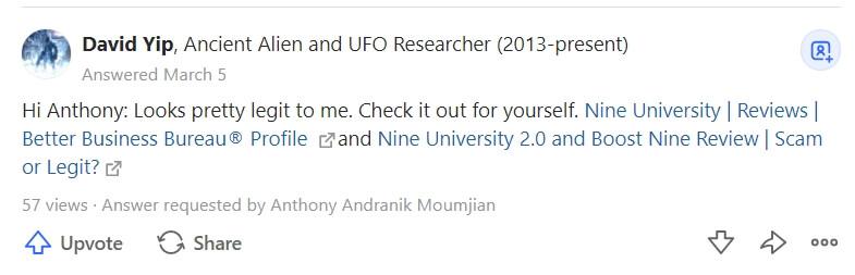Nine University Reviews on Quora